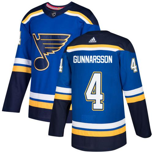 Men's Adidas St. Louis Blues #4 Carl Gunnarsson Blue Home Authentic Stitched NHL Jersey