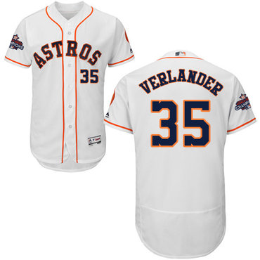 Men's Houston Astros #35 Justin Verlander White Flexbase Authentic Collection 2017 World Series Champions Stitched MLB Jersey