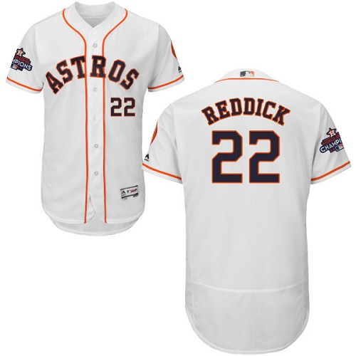 Men's Houston Astros #22 Josh Reddick White Flexbase Authentic Collection 2017 World Series Champions Stitched MLB Jersey