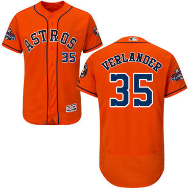 Men's Houston Astros #35 Justin Verlander Orange Flexbase Authentic Collection 2017 World Series Champions Stitched MLB Jersey