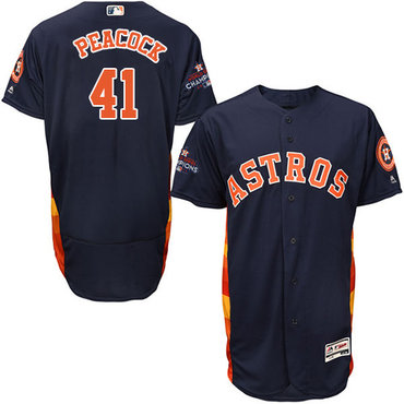 Men's Houston Astros #41 Brad Peacock Navy Blue Flexbase Authentic Collection 2017 World Series Champions Stitched MLB Jersey