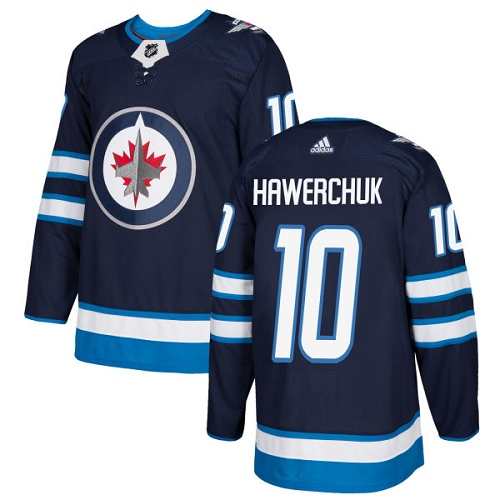Adidas Jets #10 Dale Hawerchuk Navy Blue Home Authentic Stitched NHL Jersey