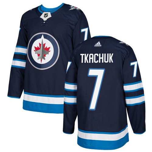 Adidas Jets #7 Keith Tkachuk Navy Blue Home Authentic Stitched NHL Jersey
