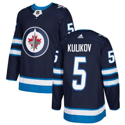 Adidas Jets #5 Dmitry Kulikov Navy Blue Home Authentic Stitched NHL Jersey