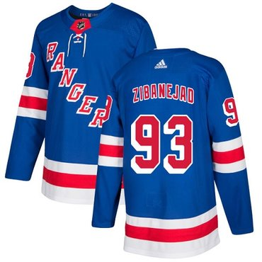 Adidas Rangers #93 Mika Zibanejad Royal Blue Home Authentic Stitched NHL Jersey