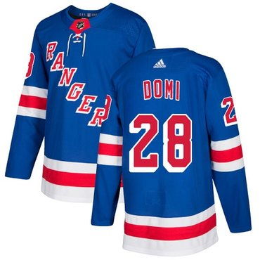 Adidas Rangers #28 Tie Domi Royal Blue Home Authentic Stitched NHL Jersey