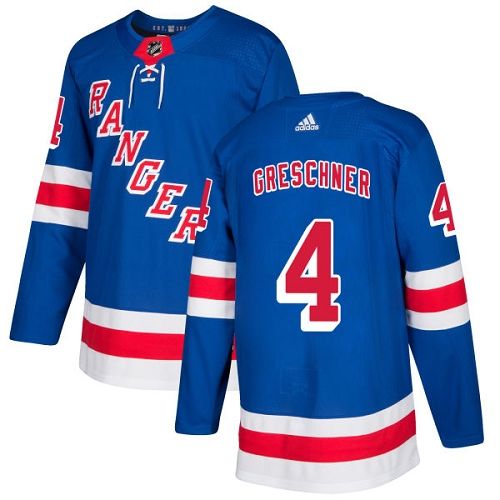 Adidas Rangers #4 Ron Greschner Royal Blue Home Authentic Stitched NHL Jersey