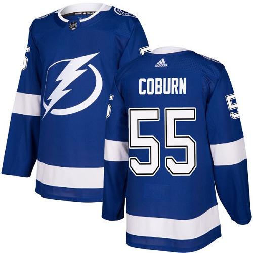 Adidas Lightning #55 Braydon Coburn Blue Home Authentic Stitched NHL Jersey