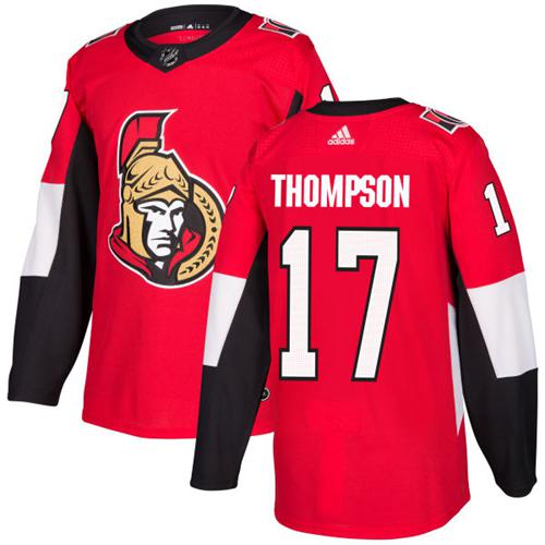 Adidas Senators #17 Nate Thompson Red Home Authentic Stitched NHL Jersey
