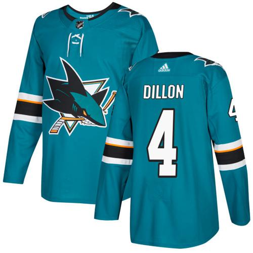 Adidas Sharks #4 Brenden Dillon Teal Home Authentic Stitched NHL Jersey