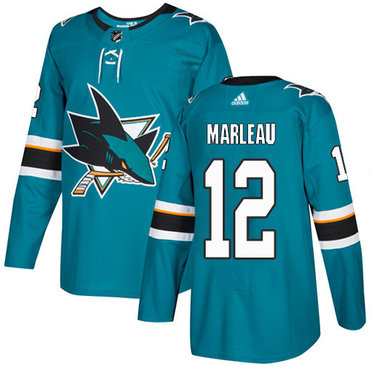 Adidas Sharks #12 Patrick Marleau Teal Home Authentic Stitched NHL Jersey