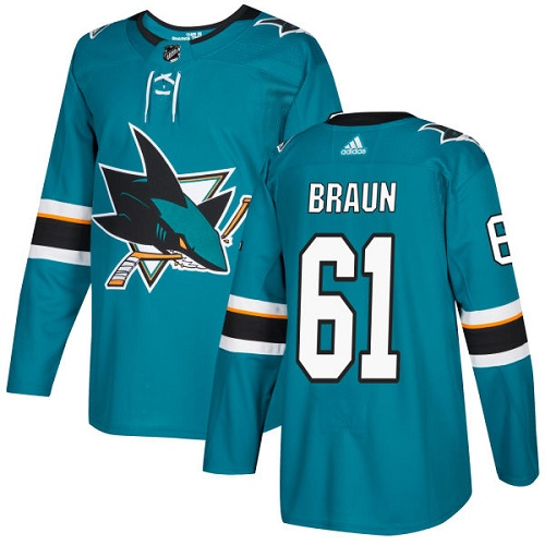 Adidas Sharks #61 Justin Braun Teal Home Authentic Stitched NHL Jersey