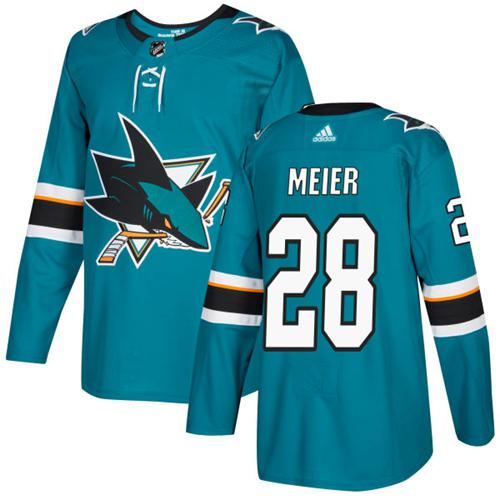 Adidas Sharks #28 Timo Meier Teal Home Authentic Stitched NHL Jersey