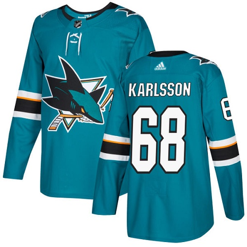 Adidas Sharks #68 Melker Karlsson Teal Home Authentic Stitched NHL Jersey