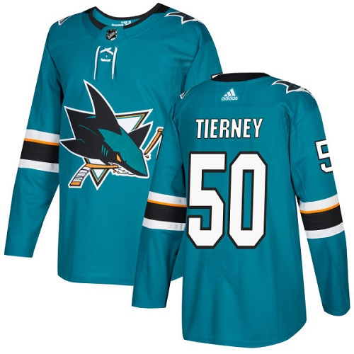Adidas Sharks #50 Chris Tierney Teal Home Authentic Stitched NHL Jersey