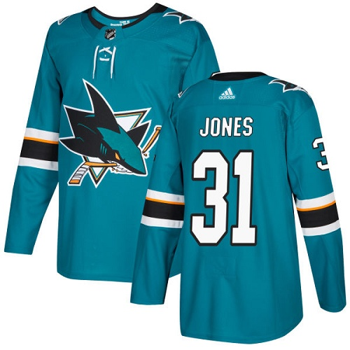 Adidas Sharks #31 Martin Jones Teal Home Authentic Stitched NHL Jersey