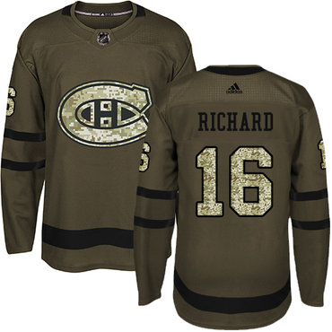 Adidas Canadiens #16 Henri Richard Green Salute to Service Stitched NHL Jersey