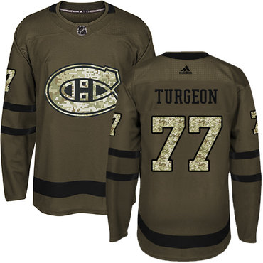Adidas Canadiens #77 Pierre Turgeon Green Salute to Service Stitched NHL Jersey
