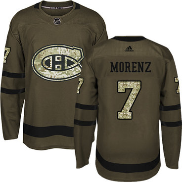 Adidas Canadiens #7 Howie Morenz Green Salute to Service Stitched NHL Jersey