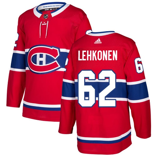 Adidas Canadiens #62 Artturi Lehkonen Red Home Authentic Stitched NHL Jersey
