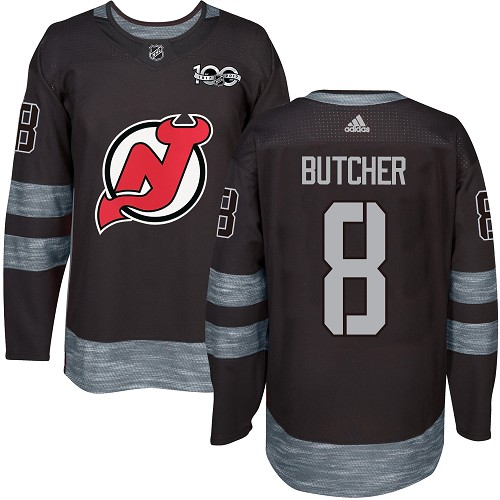 Adidas Devils #8 Will Butcher Black 1917-2017 100th Anniversary Stitched NHL Jersey