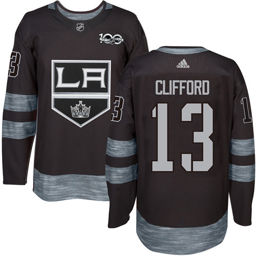 Adidas Kings #13 Kyle Clifford Black 1917-2017 100th Anniversary Stitched NHL Jersey