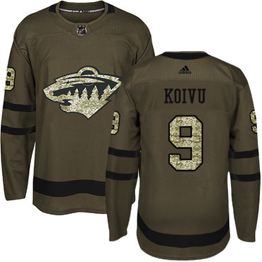 Adidas Wild #9 Mikko Koivu Green Salute to Service Stitched NHL Jersey