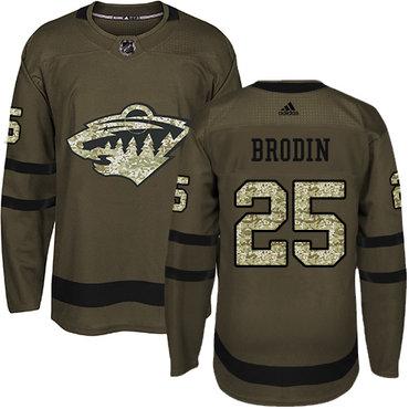 Adidas Wild #25 Jonas Brodin Green Salute to Service Stitched NHL Jersey