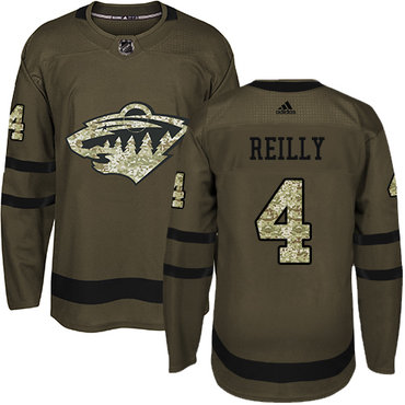 Adidas Wild #4 Mike Reilly Green Salute to Service Stitched NHL Jersey