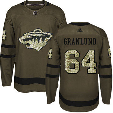 Adidas Wild #64 Mikael Granlund Green Salute to Service Stitched NHL Jersey