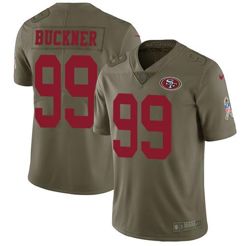 Men's Nike San Francisco 49ers #99 DeForest Buckner Olive 2017 Salute to Service NFL Limited Stitched Jersey