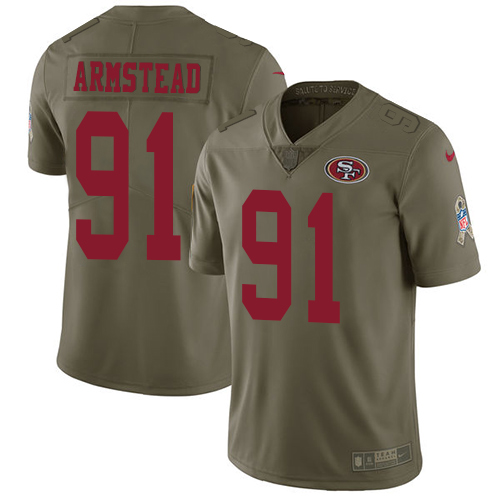 Men's Nike San Francisco 49ers #91 Arik Armstead Olive 2017 Salute to Service NFL Limited Stitched Jersey