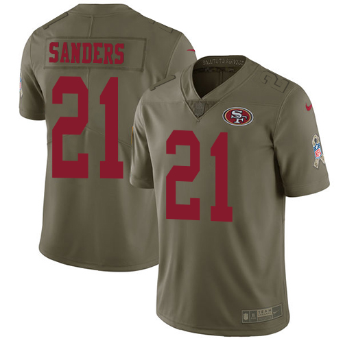 ID89824 Men\'s Nike San Francisco 49ers #21 Deion Sanders Olive 2017 Salute to Service NFL Limited Stitched Jersey