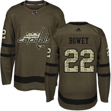 Adidas Capitals #22 Madison Bowey Green Salute to Service Stitched NHL Jersey