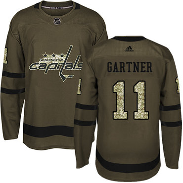 Adidas Capitals #11 Mike Gartner Green Salute to Service Stitched NHL Jersey