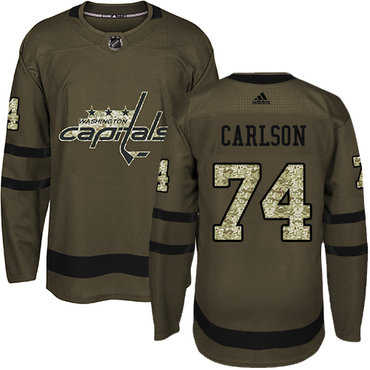 Adidas Capitals #74 John Carlson Green Salute to Service Stitched Youth NHL Jersey