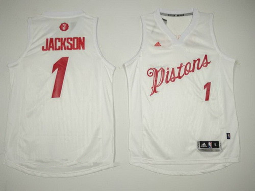 7fbb9b89d Men s Detroit Pistons  1 Reggie Jackson adidas White 2016 Christmas Day  Stitched NBA Swingman Jersey