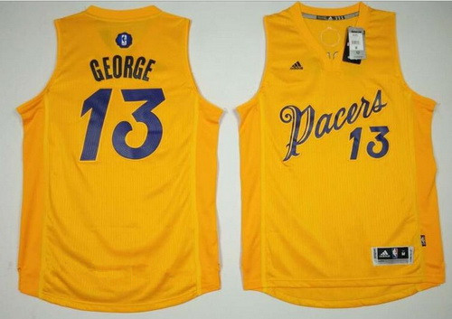 mens indiana pacers 13 paul george adidas yellow 2016 christmas day stitched nba swingman jersey