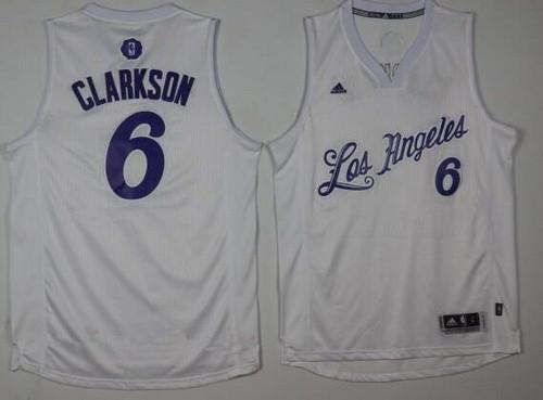 Men's Los Angeles Lakers #6 Jordan Clarkson Adidas White 2016 Christmas Day Stitched NBA Swingman Jersey