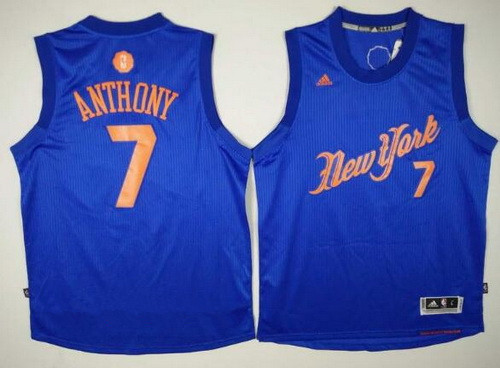 ... free shipping jersey mens new york knicks 7 carmelo anthony adidas  royal blue 2016 christmas day 65d056908