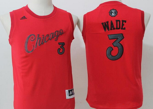 Youth Chicago Bulls #3 Dwyane Wade adidas Red 2016 Christmas Day Stitched NBA Swingman Jersey