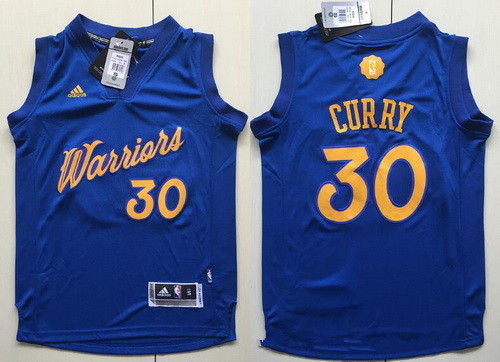 Youth Golden State Warriors #30 Stephen Curry adidas Royal Blue 2016 Christmas Day Stitched NBA Swingman Jersey