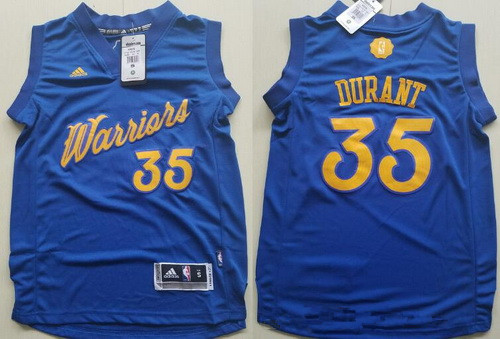 Youth Golden State Warriors #35 Kevin Durant adidas Royal Blue 2016 Christmas Day Stitched NBA Swingman Jersey