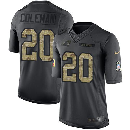 Nike Panthers #20 Kurt Coleman Black Men's Stitched NFL Limited 2016 Salute to Service Jersey
