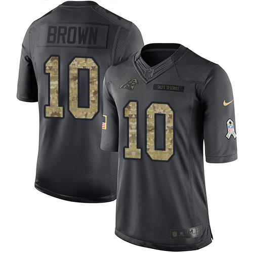Nike Panthers #10 Corey Brown Black Men's Stitched NFL Limited 2016 Salute to Service Jersey