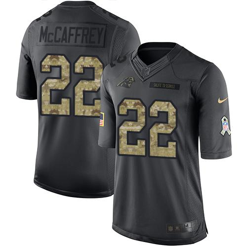 Nike Panthers #22 Christian McCaffrey Black Men's Stitched NFL Limited 2016 Salute to Service Jersey