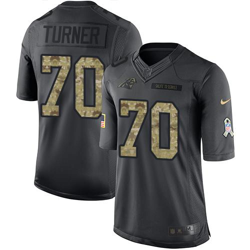 Nike Panthers #70 Trai Turner Black Men's Stitched NFL Limited 2016 Salute to Service Jersey