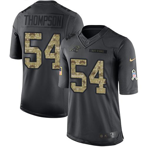 Nike Panthers #54 Shaq Thompson Black Men's Stitched NFL Limited 2016 Salute to Service Jersey