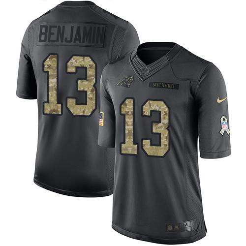 Nike Panthers #13 Kelvin Benjamin Black Men's Stitched NFL Limited 2016 Salute to Service Jersey