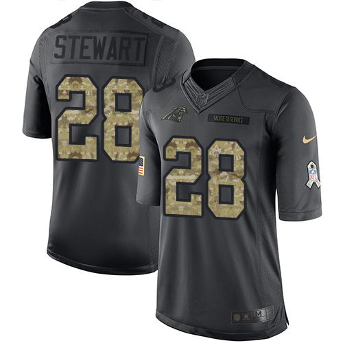 Nike Panthers #28 Jonathan Stewart Black Men's Stitched NFL Limited 2016 Salute to Service Jersey